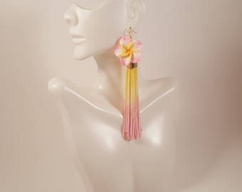Pink and yellow tassel earrings, light pink earrings, baby pink earrings, tassel earrings gift for girlfriend, anniversary gifts for women