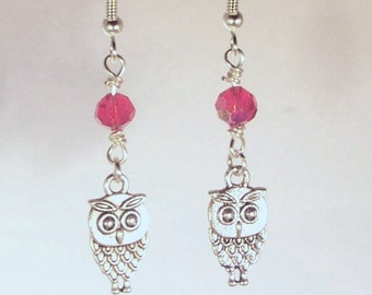 Pewter Owls and Swarovski Crystal Earrings - Available in All Colors - Shown in Ruby