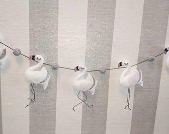 Swan Felt Garland - Swan and glitter felt garland, glitter felt balls,
