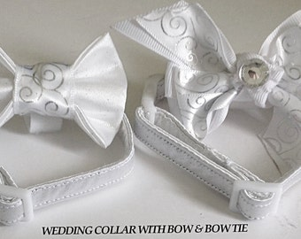 White Satin Wedding Dog or Cat Collar with Available Matching Collar Ribbon Bow or Bow tie