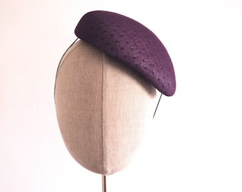 Purple Cocktail Hat Hand Blocked Slouch Beret Millinery