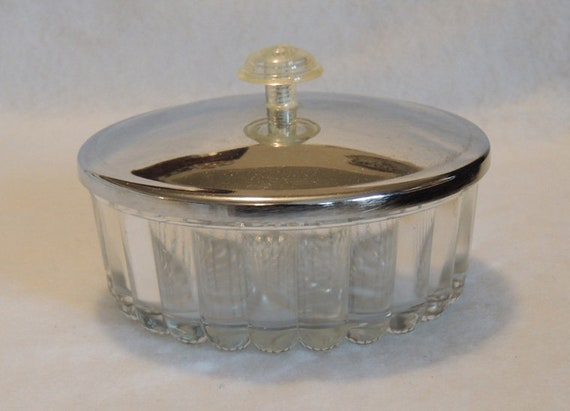 Vintage Mid Century Glass Candy Dish With Chrome Lid