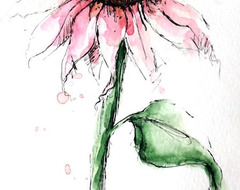 Cone Flower Original Watercolor Art Painting Pen and Ink Watercolor Hand Painted Flower