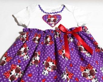 Little Girl Dress, Toddler dresses, Bodysuit dress, Girls Purple Dress, Girls Clothes with Puppies, Girls Birthday Dress, Girls Summer Dress