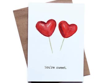 Food Pun Greeting Card for Him Her I Love You Birthday Anniversary Boyfriend Girlfriend Husband Wife You're Sweet