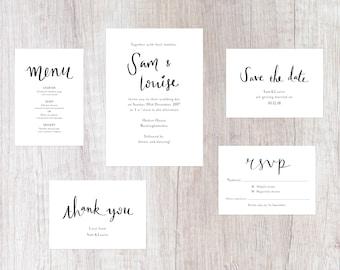 Simple Black and White Wedding Invites Suite   Handwritten Lettering   Printable Digital File   Wedding Invitations Set