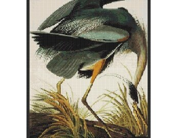 Great Blue Heron, bead tapestry pattern