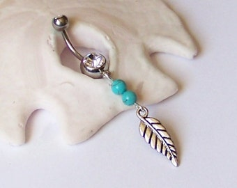 Belly Button Ring - Belly Ring - Belly Button Jewelry - Silver Leaf Charm with Magnesite or Choose Another Gemstone - Made to Order