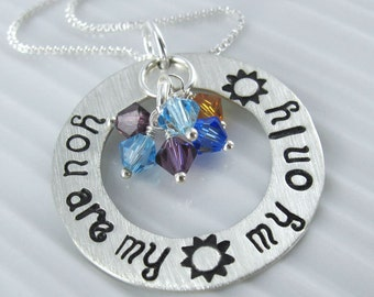 """You are my Sunshine, My Only Sunshine Necklace - 1"""" Hand Stamped Personalized Sterling Silver Donut, Swarovski Birthstone Crystals"""