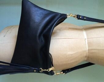 Black leather handbag, simple black purse, leather evening bag, leather crossbody purse