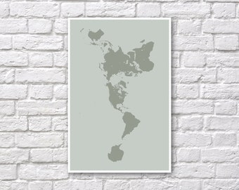 Dymaxion Map Poster - Fuller Map Projection - World Map Wall Art - Gray Green Land Only