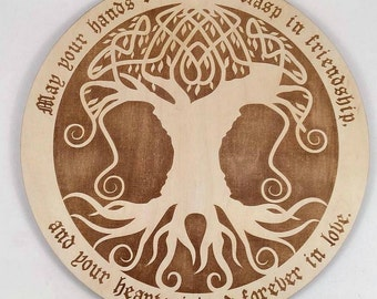 Celtic Tree engraved, Personalized Tree, Family tree Gift, Wedding engraved gift, Custom Engraved, Celtic Tree cutout, Gift for Couples