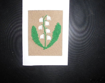 Embroidered card handmade on canvas - Lily