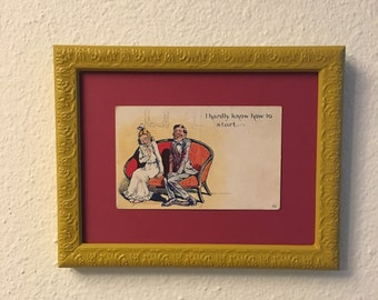 Framed Art Upcycled Picture Frame Handpainted Mustard Yellow, Vintage Postcard, Quirky Wall Art, Funny Wedding Gift