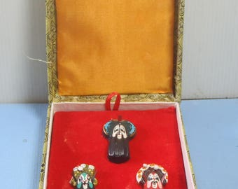 Vintage hand painted miniature Beijing opera masks set of 3 rarely avavilable