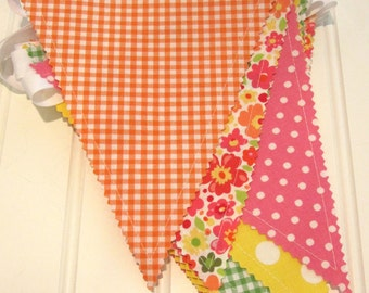 Clearance/Bunting/Fabric Flag Banner, As Seen in PREGNANCY and NEWBORN MAGAZINE, Girl Bedroom/ Nursery/ Playroom/Party/Baby Shower