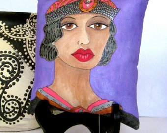 ALICE Art Deco PILLOW, hand painted pillow,  art deco hat, roaring twenties, Paris woman, NYC woman, rhinestones, gift for her, purple bkgd
