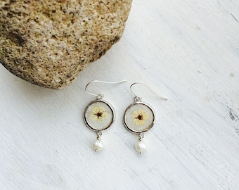 Beautiful earrings with spirea flowers and little pearls. Perfect gift for any occasion!