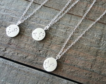 Zodiac Necklace, Constellation Necklace, Silver Zodiac Sign Necklace, Minimalist Jewelry, Birthday Jewelry, Astrology Zodiac Necklace