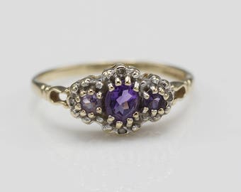 Ornate 9ct Gold Amethyst and Diamond Ladies Ring Cluster Ring  UK Size P 1/2  US 8