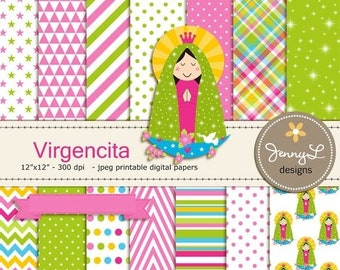 50% OFF Virgencita Digital papers, Virgin Mary clipart, Virgen Maria, Our Lady, for Communion, Baptism, Scrapbooking Papers