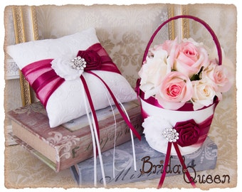 Ring Bearer Pillow and Flower Girl Basket in Burgundy