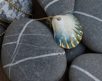 porcelain jewelry, beach necklace, mermaid necklace, porcelain necklace, shell necklaces, pedant necklace, ocean necklace, nautical necklace