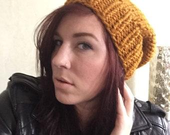Chunky Knit Slouch Hat Butterscotch