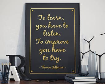 Thomas Jefferson quote, Printable Poster, Gold lettering, Art Print, Digital Download, Home Wall Art, Office Wall Art, Gift