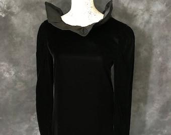 Vintage 1970's 1980's Bill Blass black velvet taffeta ruffle neck dress