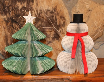 Up-cycled/Recycled Books-Snowman, Christmas Trees-Holiday Decorations