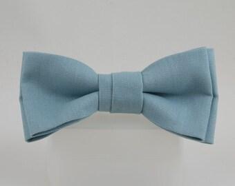 Handmade Grey Blue Bowtie Irish Linen Clip on tie, Wedding Bowtie, Evening bowtie, Classic Bow tie, this tie make a strong statement