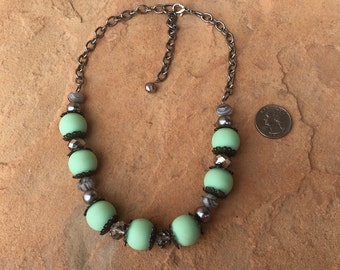 Mint Green and Grey Necklace featuring cute, chunky beads and gunmetal gray chain!