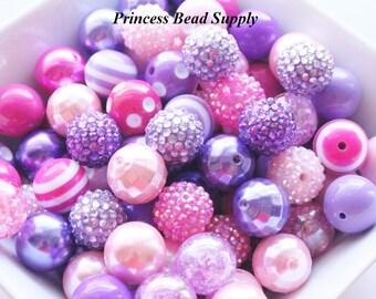 100 20mm Chunky Beads Bulk Beads, Pink and Purple Bulk Bead Mix Wholesale Beads 100 Bubble Gum Gumball Beads