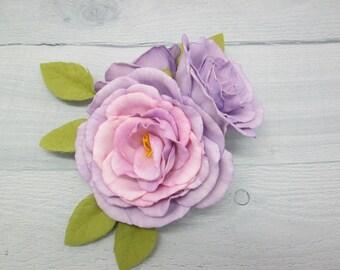 Hair flower Rose wedding Flower hair clips Bridesmaids gifts Bridal hair clip Purple hair flower Flower heads Rose hair clip Bridal hair
