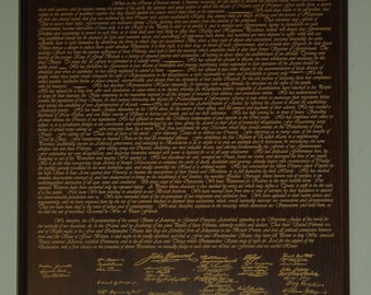 Declaration of Independence Laser Engraved on wood for Fathers Day