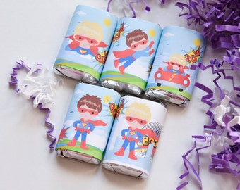 54 Superhero Candy Wrappers for Hershey® Miniatures, Superhero Party Favor, Superhero Birthday Party Favors, Superhero Party Supplies