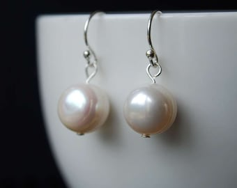 Classic Freshwater Pearl Earrings, Simple Elegant Design, Sterling Silver Ear Wires