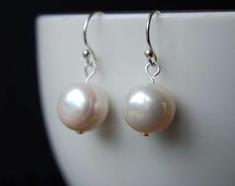 Classic Freshwater Pearl Earrings, Simple Elegant Design, Sterling Silver Ear Wires