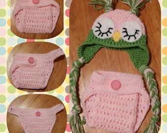 Crochet Sleepy Owl, Diaper, Newborn hat and diaper, photo prop, baby shower, Owl beanie,
