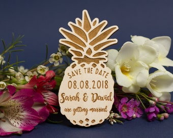 Save the date, Save the date magnet, Pineapple save the date magnets, Rustic save the date, Wooden save the dates, Pineapple magnets