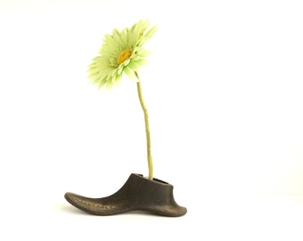Vintage / Antique Cast Iron Shoe Form, C with Test Tube (c.1920s) - Repurpose as a Test Tube Flower Vase, Home Decor, Bookends, and more