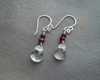 Crystal Quartz and Garnet Earrings