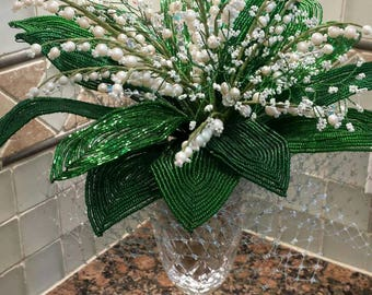 French Beaded Flower Lily of the Valley Bouquet Arrangement (FREE SHIPPING)