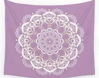 Purple Mandala Tapestry, Lavender Tapestry, Lavender Bedroom Decor, Wall Tapestry Wall Hanging, Bohemian Tapestries, Sofa Throw, Dorm Decor