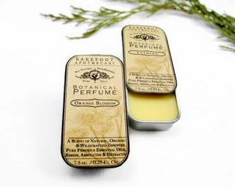 Natural Solid Perfume Oil- Single Note Tin. .25oz Pick Your Potion. Botanical Perfume. Organic Essential Oils. Aromatherapeutic.