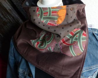 C 08 snood neck warmer warm lined fleece velvet Appliqué with polka dots and Brown