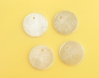 2pcs Sterling silver , brushed round charm(10mm)