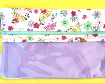 Handmade ZIPPERED pouch with clear vinyl front in a cute FAIRIES and FLOWERS pattern.