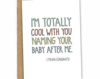 Funny New Baby Card | Baby Congratulations ~ Baby Name by Fresh Card Co